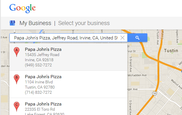 Search for your business.