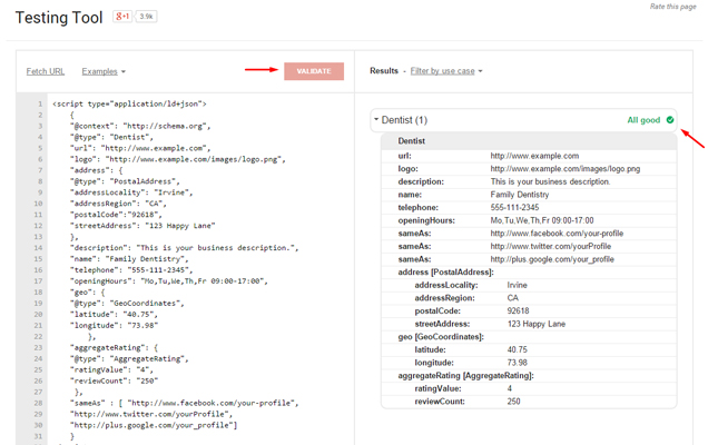 Test your Markup in Structured Data Testing Tool