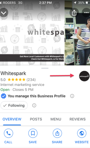 Business Logo on Right Hand of Profile