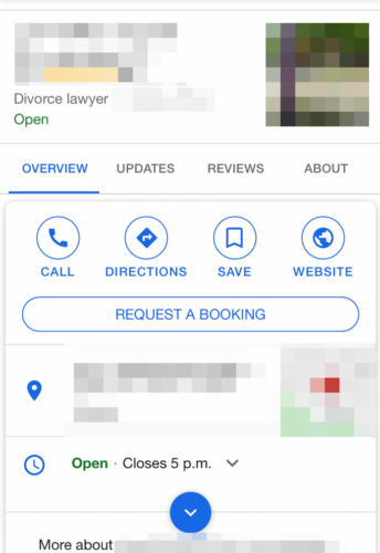 Request a booking example