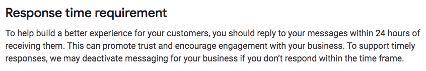 Excerpt from Google My Business Messaging Guidelines Regarding Response Time